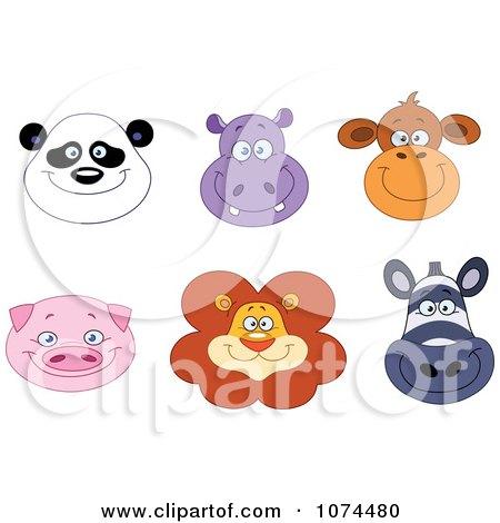Clipart Happy Panda Hippo Monkey Pig Lion And Zebra Animal Faces - Royalty Free Vector Illustration by yayayoyo