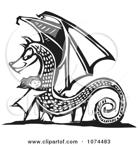 Clipart Black And White Woodcut Girl Hugging A Dragon - Royalty Free Vector Illustration by xunantunich