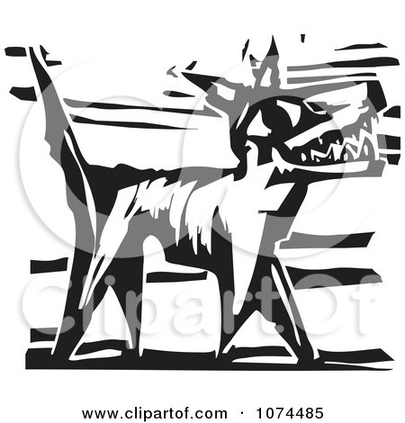 Clipart Black And White Woodcut Dog Barking - Royalty Free Vector Illustration by xunantunich