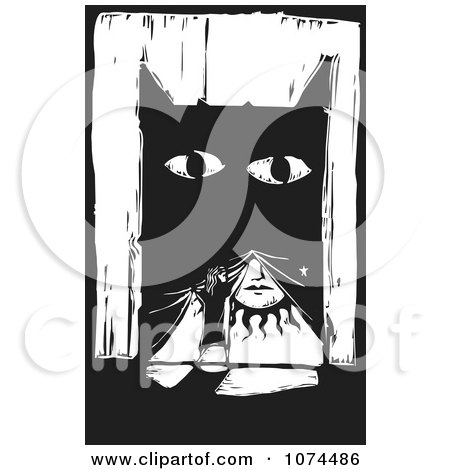 Clipart Black And White Woodcut Woman Lifting A Monster Curtain To Reveal The Sun - Royalty Free Vector Illustration by xunantunich