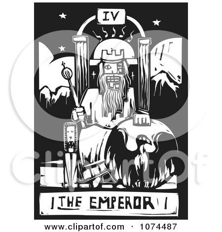 Clipart Black And White Woodcut Tarot Emperor - Royalty Free Vector Illustration by xunantunich