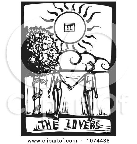 Clipart Black And White Woodcut Tarot Lovers - Royalty Free Vector Illustration by xunantunich