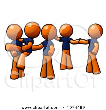 Clipart Orange Man Instructing A Dance Team - Royalty Free Illustration by Leo Blanchette