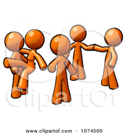 Clipart Orange Man And Two Couples Dancing - Royalty Free Illustration by Leo Blanchette