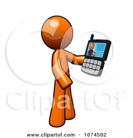 Clipart Orange Man Holding A Video Chat Cell Phone - Royalty Free Illustration by Leo Blanchette