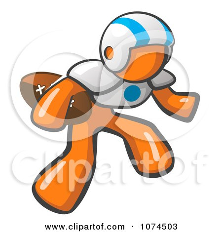 Clipart Orange Man American Football Player - Royalty Free Vector Illustration by Leo Blanchette