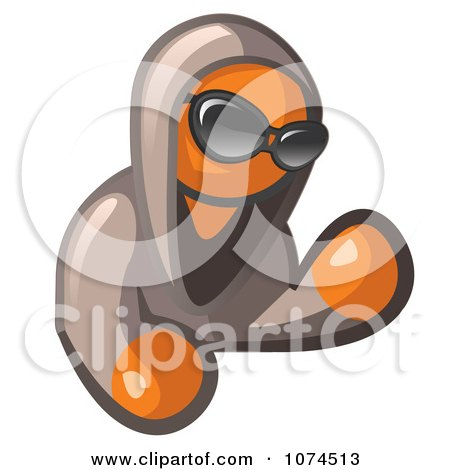 Clipart Hooded Orange Man Wearing Shades - Royalty Free Illustration by Leo Blanchette