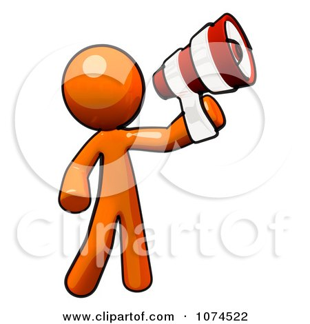 Clipart Orange Man Using A Megaphone - Royalty Free Illustration by Leo Blanchette