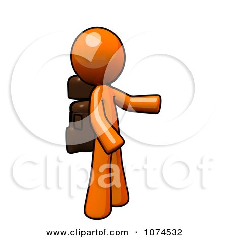 Clipart Orange Man Wearing A Hiking Backpack - Royalty Free Illustration by Leo Blanchette
