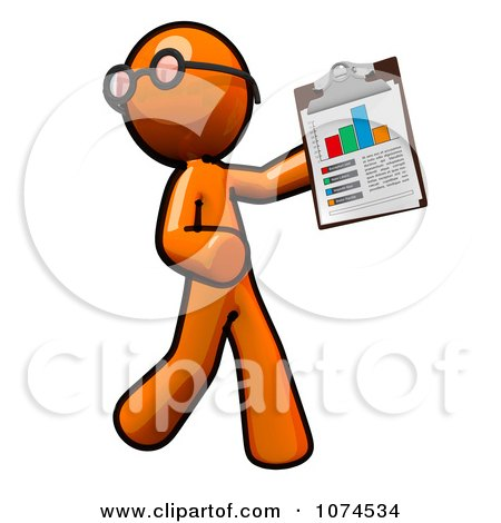 Clipart Orange Man Holding A Chart On A Clipboard 1 - Royalty Free Illustration by Leo Blanchette
