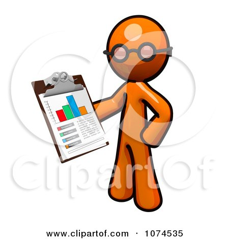 Clipart Orange Man Holding A Chart On A Clipboard 2 - Royalty Free Illustration by Leo Blanchette
