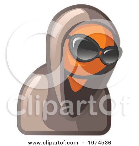 Clipart Hooded Orange Man Wearing Sunglasses - Royalty Free Illustration by Leo Blanchette