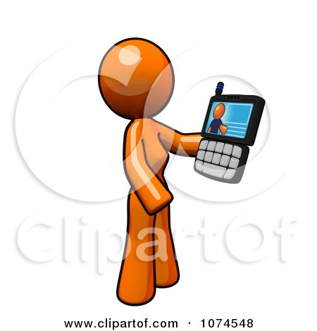Clipart Orange Woman Video Chatting On A Cell Phone - Royalty Free Illustration by Leo Blanchette