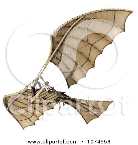 Clipart 3d Ornithopter Da Vinci Flier 7 - Royalty Free CGI Illustration by Leo Blanchette