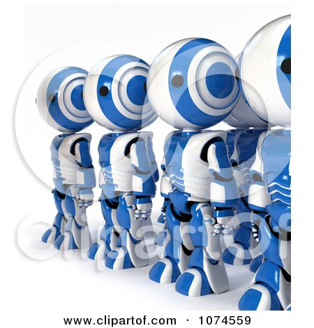 Clipart Line Of 3d Blue Ao-Maru Robots - Royalty Free CGI Illustration by Leo Blanchette