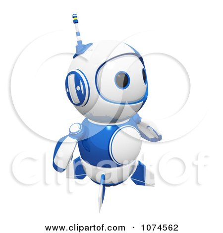 Clipart Cute 3d Blueberry Robot Gazing - Royalty Free CGI Illustration by Leo Blanchette