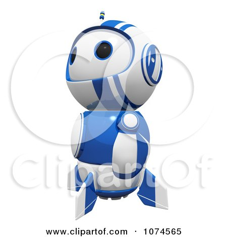 Clipart Cute 3d Blueberry Robot Looking Upwards - Royalty Free CGI Illustration by Leo Blanchette