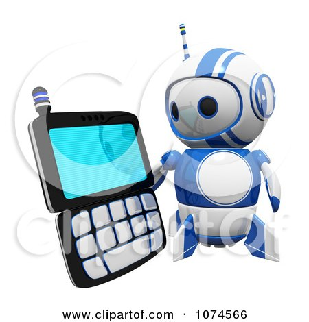 Clipart Cute 3d Blueberry Robot Holding A PDA - Royalty Free CGI Illustration by Leo Blanchette