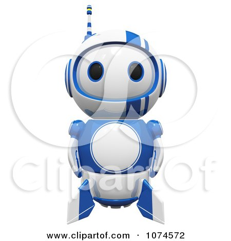 Clipart Cute 3d Blueberry Robot Facing Front - Royalty Free CGI Illustration by Leo Blanchette