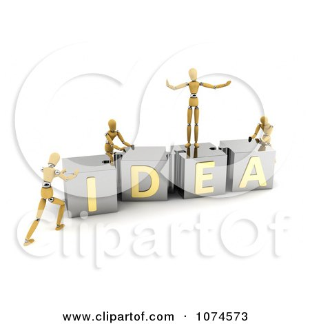 Clipart 3d Mannequins Pushing IDEA Puzzle Blocks Together - Royalty Free CGI Illustration by stockillustrations