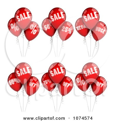 3d Red Sales Party Balloon Design Elements Posters, Art Prints
