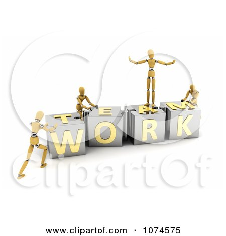 Clipart 3d Mannequins Pushing TEAMWORK Puzzle Blocks Together - Royalty Free CGI Illustration by stockillustrations