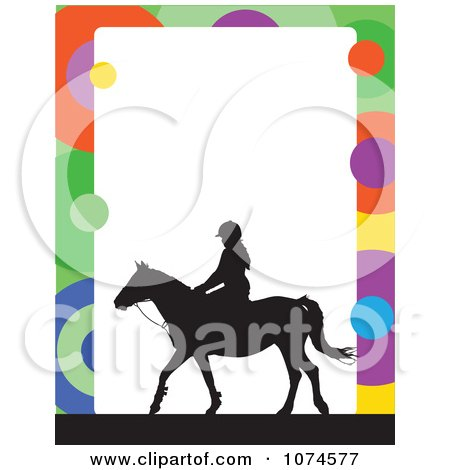Clipart Silhouetted Horse And Equestrian With A Colorful Circle Frame And White Copyspace - Royalty Free Vector Illustration by Maria Bell