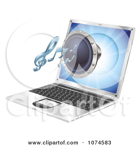 Clipart 3d Music Speaker Emerging From A Laptop Computer - Royalty Free Vector Illustration by AtStockIllustration