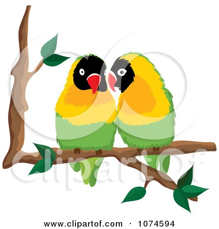 Clipart Two Love Birds Perched On A Branch 1 - Royalty Free Vector Illustration by Pams Clipart