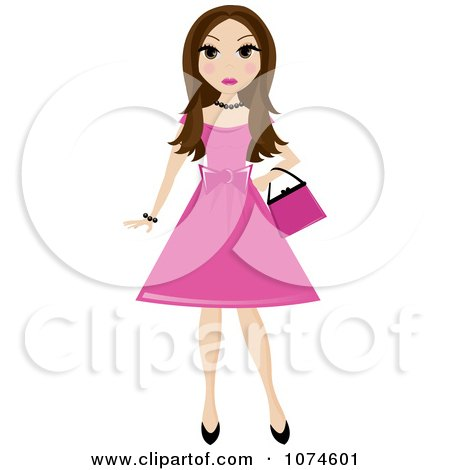 Clipart Brunette Teen Girl In A Pink Dress - Royalty Free Vector Illustration by Pams Clipart