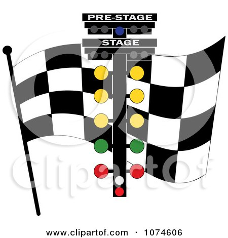 Clipart Checkered Race Flag And Track Lights - Royalty Free Vector Illustration by Pams Clipart
