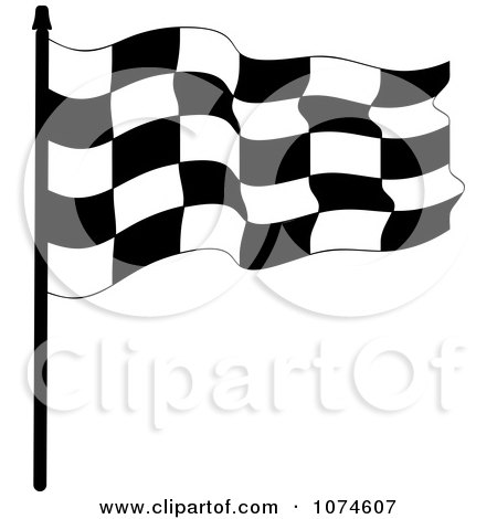 Clipart Waving Checkered Race Flag 2 - Royalty Free Vector Illustration by Pams Clipart