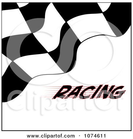 Clipart Checkered Racing Flag On White With Text - Royalty Free Vector Illustration by Pams Clipart