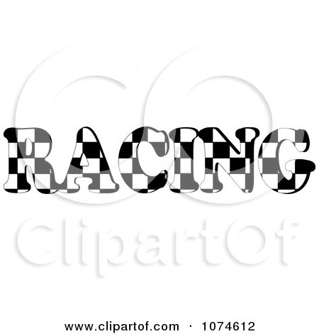 Clipart The Word RACING With A Checkered Flag Pattern - Royalty Free Vector Illustration by Pams Clipart