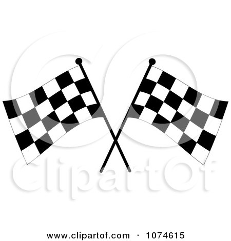 clipart blank banner trophy cup and two checkered race flags, Powerpoint templates