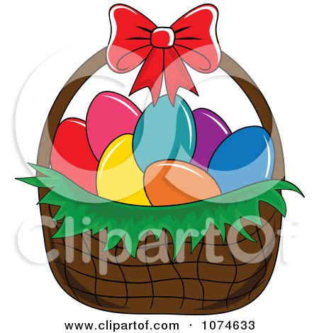 Clipart Dyed Eggs In An Easter Basket 1 - Royalty Free Vector Illustration by Pams Clipart