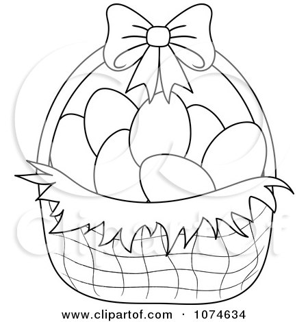 Outlined Eggs In An Easter Easter Basket Drawing