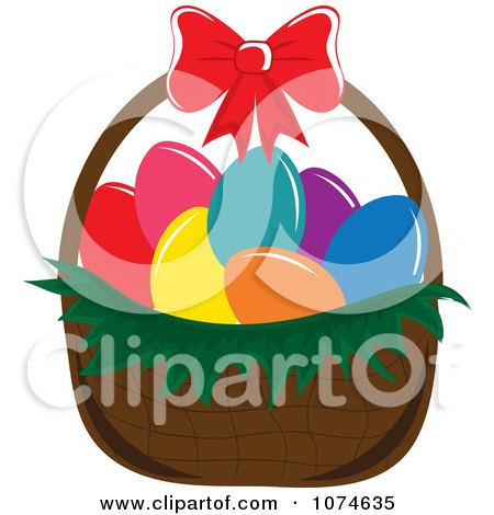 Clipart Dyed Eggs In An Easter Basket 2 - Royalty Free Vector Illustration by Pams Clipart