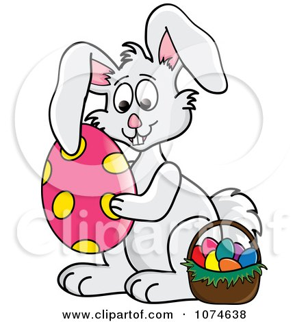 Clipart Gray Easter Bunny Hugging An Egg By A Basket 1 - Royalty Free Vector Illustration by Pams Clipart