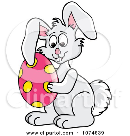 Clipart Gray Easter Bunny Holding An Egg - Royalty Free Vector Illustration by Pams Clipart