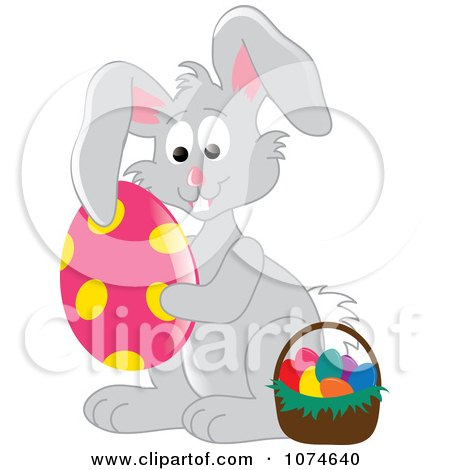 Clipart Gray Easter Bunny Hugging An Egg By A Basket 2 - Royalty Free Vector Illustration by Pams Clipart
