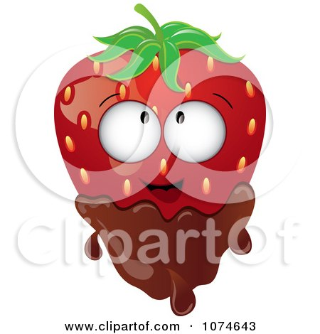 Clipart 3d Strawberry Character Dipped In Milk Chocolate - Royalty Free Vector Illustration by Pams Clipart