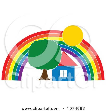 Clipart House And Tree Under A Rainbow Arch - Royalty Free Vector Illustration by Pams Clipart