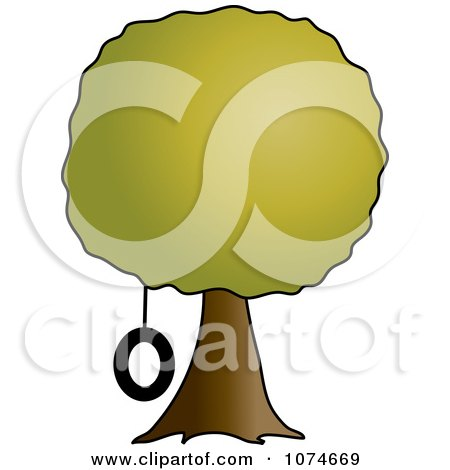 Clipart Tire Swing Hanging From A Tree - Royalty Free Vector Illustration by Pams Clipart
