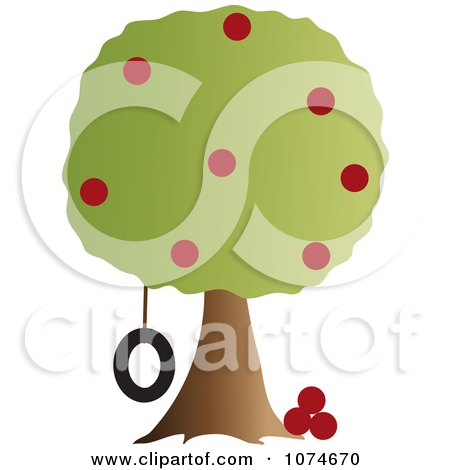 Clipart Tire Swing Hanging From An Apple Tree - Royalty Free Vector Illustration by Pams Clipart