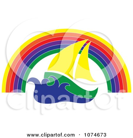 Clipart Sail Boat Under A Rainbow Arch - Royalty Free Vector Illustration by Pams Clipart