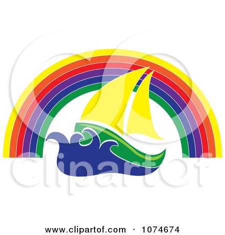 Clipart Sailing Boat Under A Rainbow Arch - Royalty Free Vector Illustration by Pams Clipart