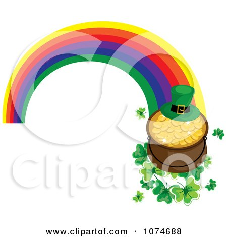 Clipart Leprechaun Hat And Pot Of Gold On Clovers At The End Of A Rainbow - Royalty Free Vector Illustration by Pams Clipart