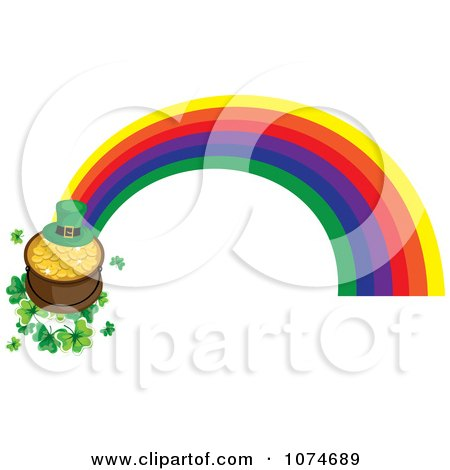 Clipart Leprechaun Hat And Pot Of Gold On Shamrocks At The End Of A Rainbow - Royalty Free Vector Illustration by Pams Clipart