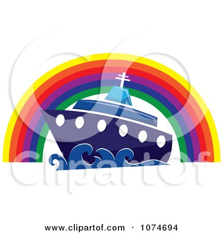 Clipart Cruise Ship Under A Rainbow Arch - Royalty Free Vector Illustration by Pams Clipart